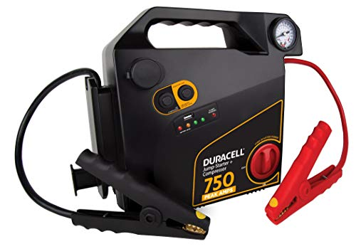 Duracell Portable Emergency Jumpstarter with Compressor, 750 Peak Amps -