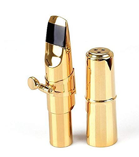 Aibay Gold Plated Metal Bb Soprano Saxophone Mouthpiece + Cap + Ligature #7
