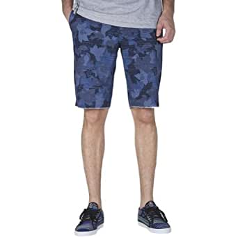 LRG Mens Woodgrain True Straight Shorts, Navy Wood Camo, 30