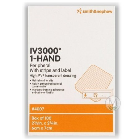 Smith & Nephew IV 3000 1-Hand Transparent Dressings #4007, 2-3/8'x2-3/4', Box of 100