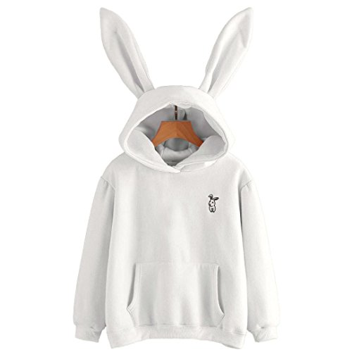 Girls Hoodie, Misaky Womens Bunny Ear Blouse Sweatshirt Hooded Pullover Tops (White, S)