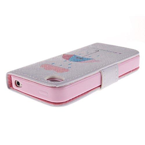 MOONCASE iPhone 4 Case Magnetverschluss [Painted Patterns] Leder Tasche Flip Case Cover Schutzhülle Etui Hülle Schale für iPhone 4 4S -LK08