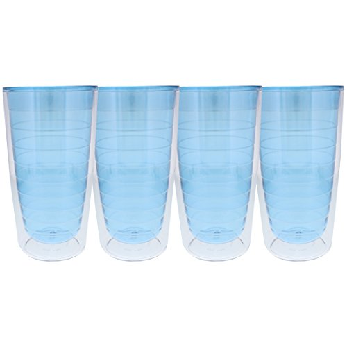 Insulated Drinking Glasses - Double Wall Acrylic Dockside Tumbler - Set of 4 - Blue