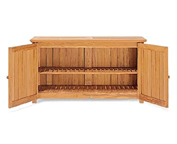 Amazon.com : Grade-A Teak Wood Outdoor Patio Garden Chest Storage ...