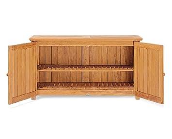 Exceptional Grade A Teak Wood Outdoor Patio Garden Chest Storage Cabinet