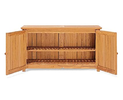 Beau TeakStation Grade A Teak Wood Outdoor Patio Garden Chest Storage Cabinet