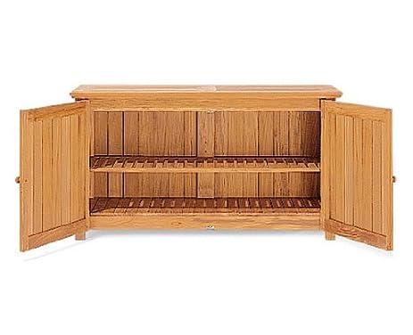 Grade A Teak Wood Outdoor Patio Garden Chest Storage Cabinet
