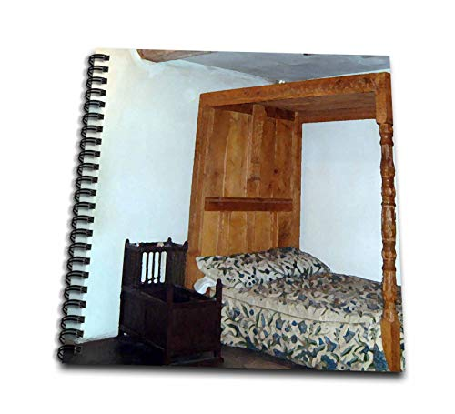 3dRose Jos Fauxtographee- Llancaiach Fawr Manor House Bed - A Historical Cozy Old Bed with a Cradle Next to it in Wales - Memory Book 12 x 12 inch (db_294494_2)