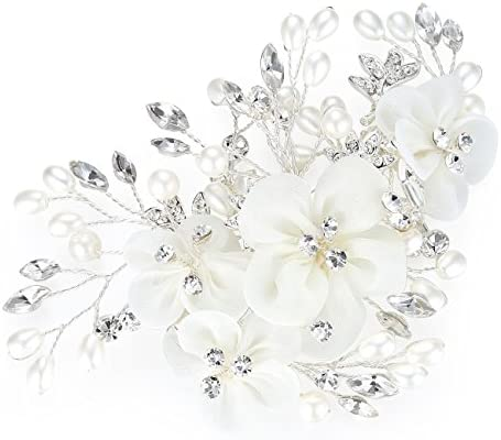 HONEY BEAR Bridal Jewellery Flower Hair Combs Clip for Women's Wedding  Accessories Simulated Pearl and Rhinestones Ivory White: Buy Online at Best  Price in UAE - Amazon.ae