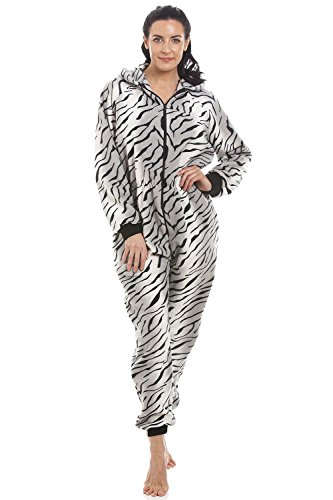 Camille Lingerie Womens Ladies Supersoft Grey Snow Tiger Hooded All In One Oneise 14/16 (Ladies Tiger)