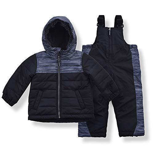 Arctic Quest Toddler Boys Color Block Snowsuit Fleece Lined Hooded Jacket and Bib Set, Deep Black, 18M