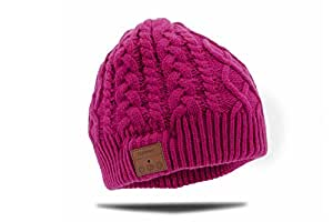 Tenergy Braided Cable Knit Wireless Hands-Free Bluetooth 4.0 Beanie Hat 52475 - Hot Pink