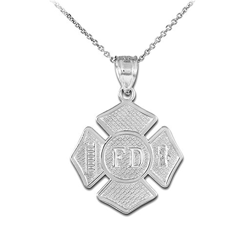 American Heroes 925 Sterling Silver St Florian Medal Firefighter Badge Pendant Necklace, 18