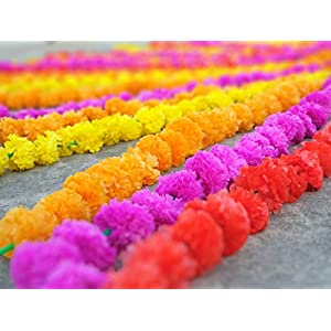 50 pcs lot Real Look Artificial Garlands Marigold Flower Garland Christmas Wedding Party Decor Flowers Mix Color Home Decor Christmas Decor 30