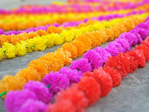 50 pcs lot Real Look Artificial Garlands Marigold Flower Garland Christmas Wedding Party Decor Flowers Mix Color Home Decor Christmas ()