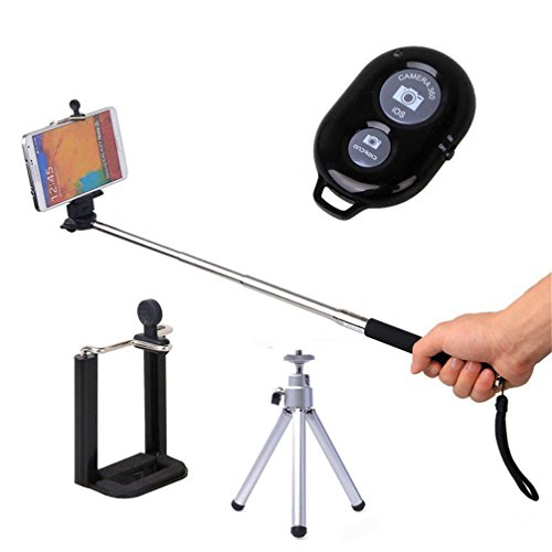 Cell I9100 Phone (Gotd Selfie Stick Set / Extendable Monopod + Phone Holder + Tripod + Wireless Bluetooth Remote Control + Wrist band for iPhone Android)
