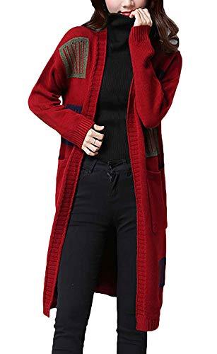 Casual Punto Larga Mujeres Chaquetas Primavera Winered Con Otoño Tejido Moda Casuales Outerwear Abrigos Manga Patchwork Abrigo Mujer Elegantes Bolsillos 7HqCTxHwp