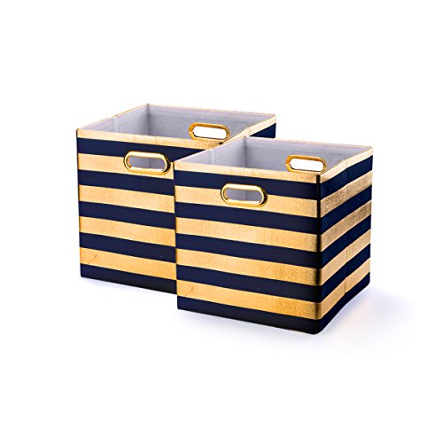 BAIST Collapsible Storage Bins,Nice Heavy Duty Collapsible Fabric Decorative Storage Cubes Basket for Nursery Bedroom Office First Day of School Large Foldable Square,2 Pack,Navy Stripe