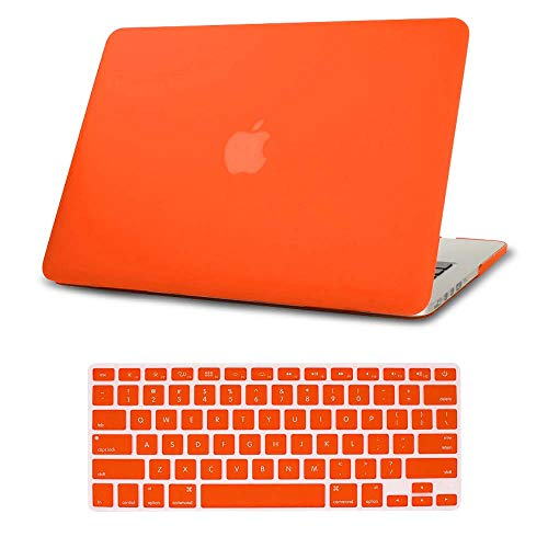 AmaBe for MacBook Pro 15 inch with Retina Display A1398 No CD-ROM Case, Bundle 2 in 1 Rubberized Matte Soft Touch Plastic Hard Shell Cover + Keyboard Cover Skin Orange (Difference Between Macbook Pro With Retina Display)