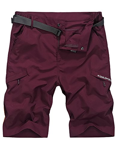Men's Outdoor Tactical Shorts Lightweight Expandable Waist Cargo Shorts with Multi Pockets Quick Dry Water Resistant,#5516,Wine Red,US 34/Tag 3XL ()