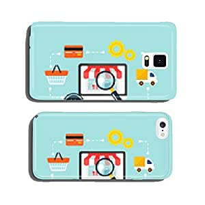 Stock vector e commerce online shopping icon set cell phone cover case iPhone6 Plus