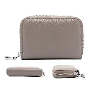 QLTYPRI Women Credit Card Holder Wallet Soft PU Leather Zipper Pocket ID Business Card Case Accordion Style Unisex Blocking Clutch Cash Coin Slot Mini Purse for Men Women - Grey