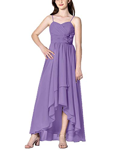 Cdress High Low Bridesmaid Dresses Chiffon Prom Party Dress Evening Formal Gowns Sweetheart Appliques Sleeveless US 24W Lavender