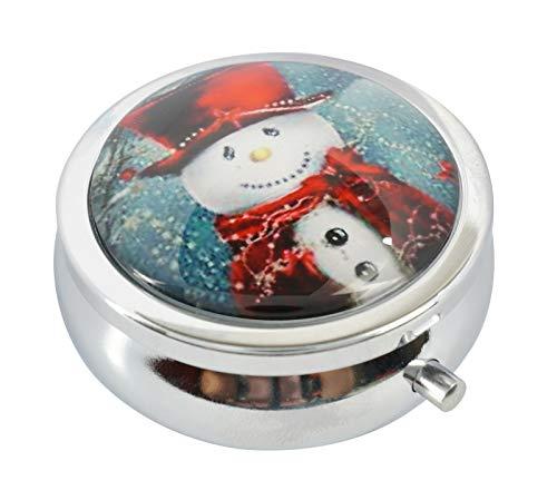 Western Snowman - WuCong Christmas Snowman Style Custom Fashion Design Glass Round Pill Case Western Medicine Tablet Holder Decorative Case