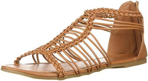 Qupid Women's Caged Sandal Flat, Camel, 8 M US from Qupid