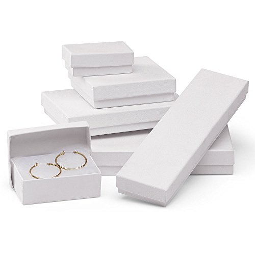 Embossed Box - White Embossed Cotton-Filled Jewelry Box Assortment - Case of 75
