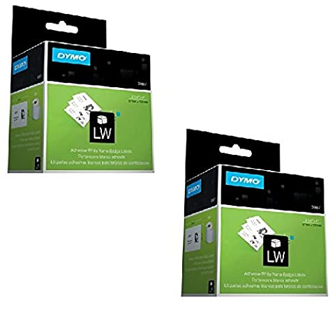 DYMO 30857 Name Badge Labels for Label Printers, White, 2-1/4'' x 4'', 250 Labels Per Roll 2 ROLLS - 250 Badge