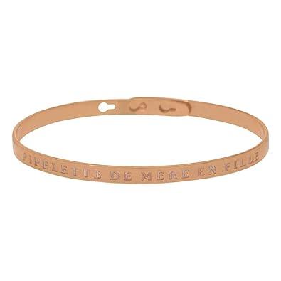 vraie affaire usine authentique grand choix de Mes-bijoux.fr PIPELETTE DE MÈRE en Fille Jonc rosé Bracelet ...