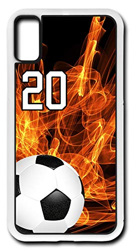 iPhone X Case Soccer SC004Z Choice of Any Personalized Number Phone Case by TYD Designs in White Plastic with Team Player Jersey Number 20