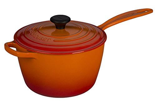 Le Creuset Signature Cast Iron Sauce Pan, 3.25-Quart, Flame