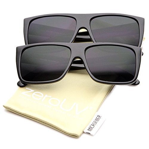 Retro Flat Top Wide Temple Eazy E Style Rectangle Sunglasses 57mm (2-Pack | ()