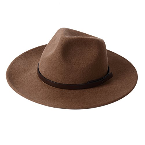 Felt Fedora Hat-100%Wool With Wide Brim And Crushable Brown Outback Style Profile For Men's Outfits