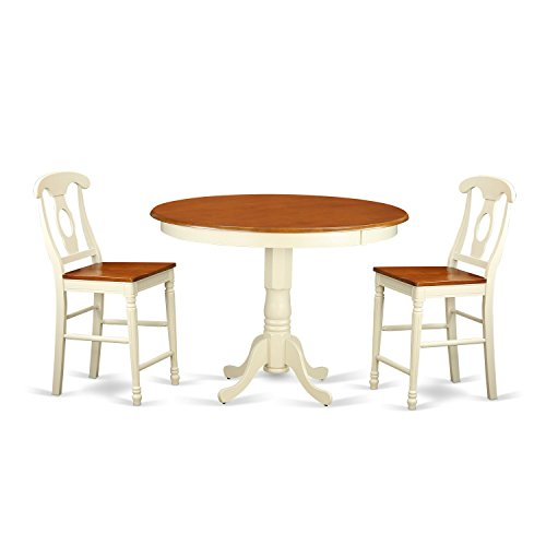 East West Furniture TRKE3-WHI-W 3 Piece Counter Height Table and 2 Kitchen Bar Stool Set