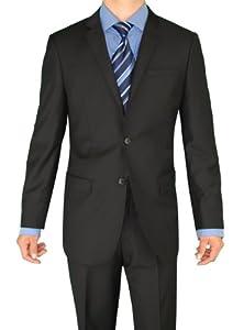B00FAUXX2W Giorgio Eleganz Men's Trim Modern Fit Suit 2 Button Black 42S