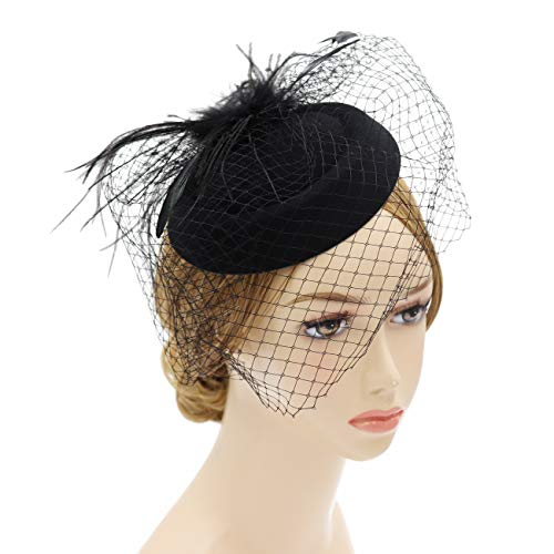 Wheebo Fascinator Hat Flower Feather Mesh Net Veil Party Wedding Headband for Women Girls (D-Black)]()