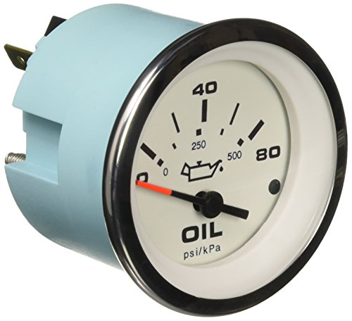 Sierra International 65501P Lido 0 to 80 Psi Dial Range Scratch Resistant Electric Oil Pressure Gauge, -