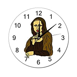 Chenxiaobo Stoned Mona Lisa Silent PVC Round Wall Clock Arabic Numerals Home Decor Wall Clock