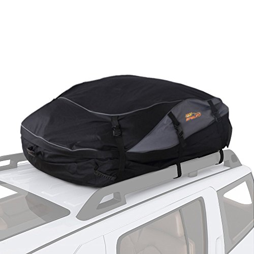 SPAUTO Rooftop Cargo Carrier Bag - Waterproof Universal Car Van and SUV Auto Soft Roof Top Cargo Bag Box Storage Luggage (20 Cubic Feet Water Resistant Upgrade, Black)