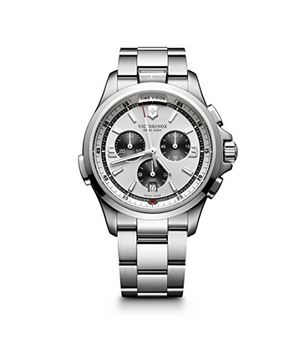 Victorinox Men's 'Night Vision' Swiss Quartz Titanium and Stainless Steel Casual Watch, Color:Silver-Toned (Model: ()