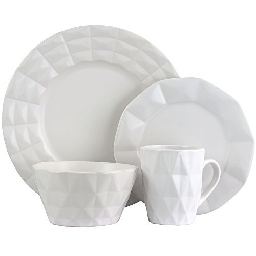 Elama Retro Chic 16-Piece Glazed Dinnerware Set in White -