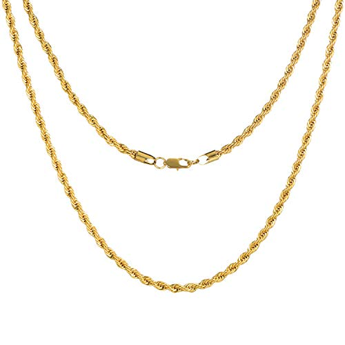 (FEEL STYLE 3mm 18K Gold Plated Stainless Steel Chain Necklace for Men Women Twist Rope Italian Jewelry 22 Inch)