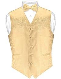 Men's Paisley Design Dress Vest & Bow Tie GOLD Color BOWTie Set for Suit Tux