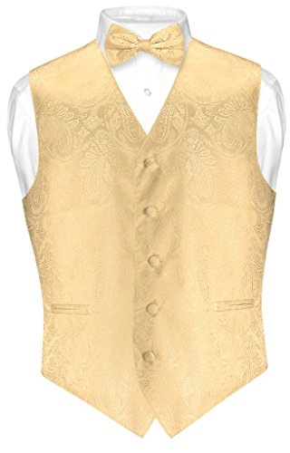 Vesuvio Napoli Men's Paisley Design Dress Vest & Bow Tie GOLD Color BOWTie Set sz Large