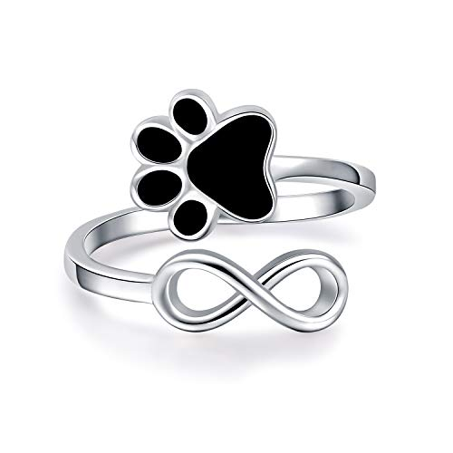 BEILIN 925 Sterling Silver Paw Print Love Heart Ring Infinity Cute Pet Dog Cat Claw Adjustable Rings