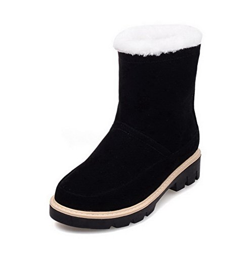 Round Boots Black Suede Pull Toe Solid Closed Women's Heels on Low Imitated AgooLar PIw7A