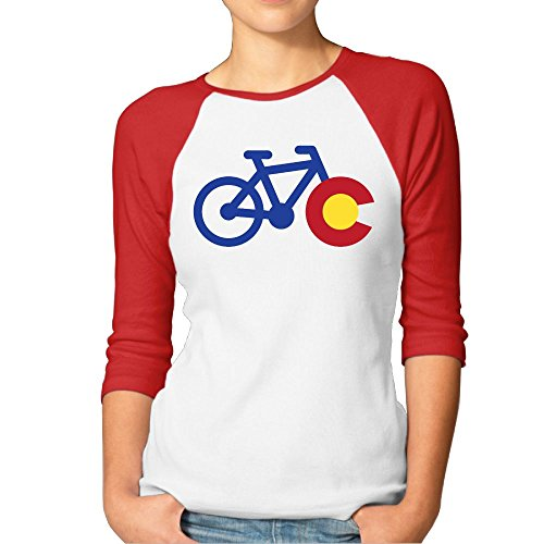 JTCY Colorado Bike Women's 3/4 Sleeve Jersey Shirt Baseball Tee Raglan T-Shirts XL (Colorado Cycling Jersey)